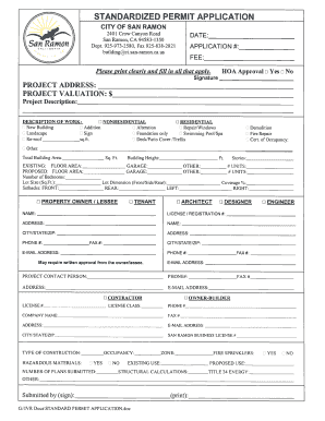 STANDARDIZED PERMIT APPLICATION - the City of San Ramon