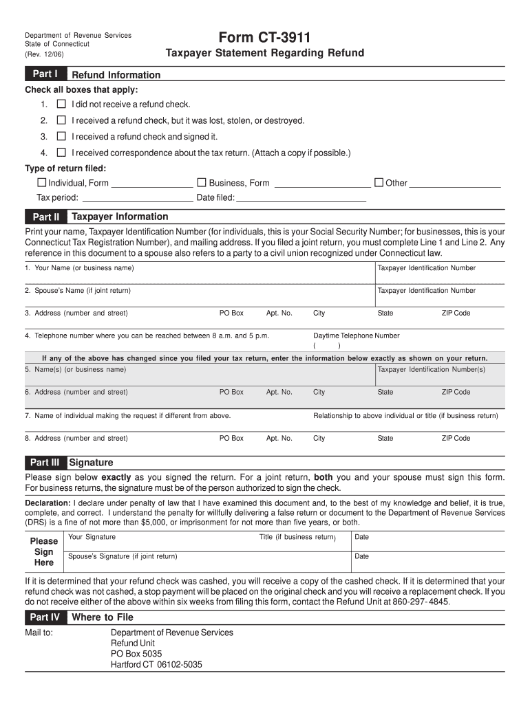 Get And Sign Ct3911  Form 2006-2021