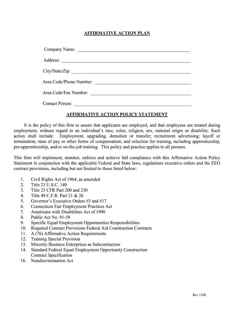 Get And Sign Affirmative Action Plan Sample 2008-2021 Form