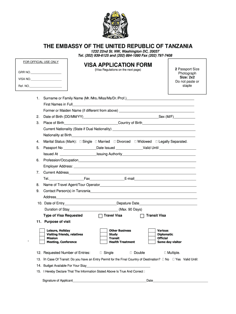 Tanzania Visa Application Fill Out And Sign Printable Pdf Template Signnow