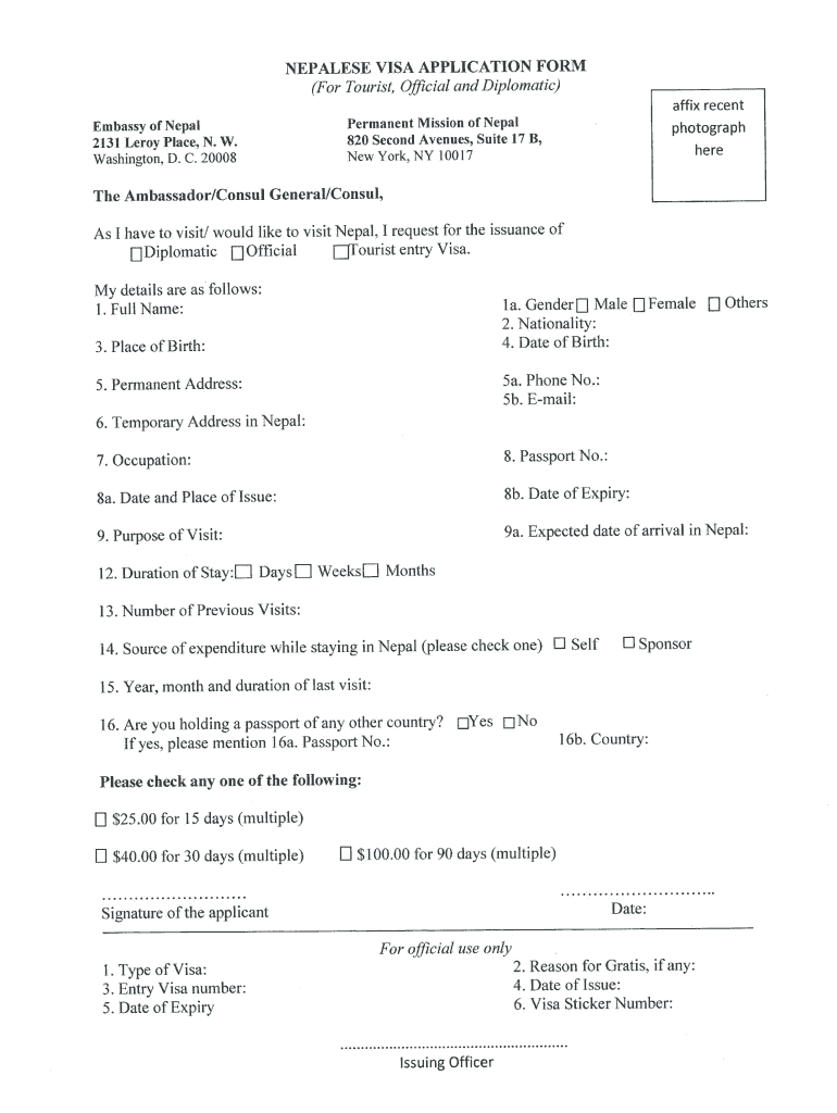 Nepal Visa Application Form Pdf Fill Out And Sign Printable Pdf Template Signnow