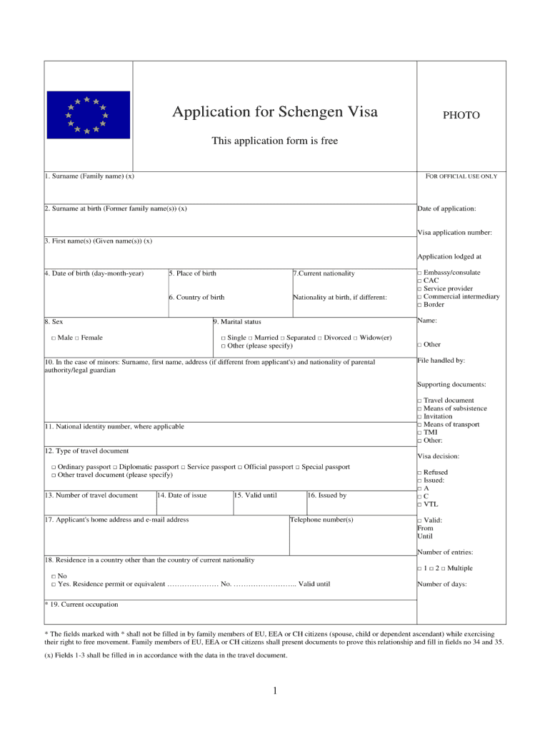 Spain Visa Application Form Pdf Fill Out And Sign Printable Pdf Template Signnow