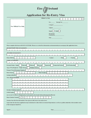 Get And Sign Ireland Re Entry Visa Form