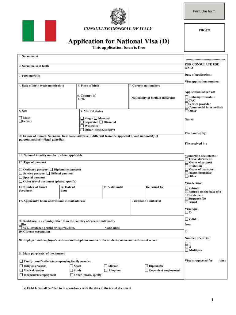 Italian Visa Application Form Fill Out And Sign Printable Pdf Template Signnow