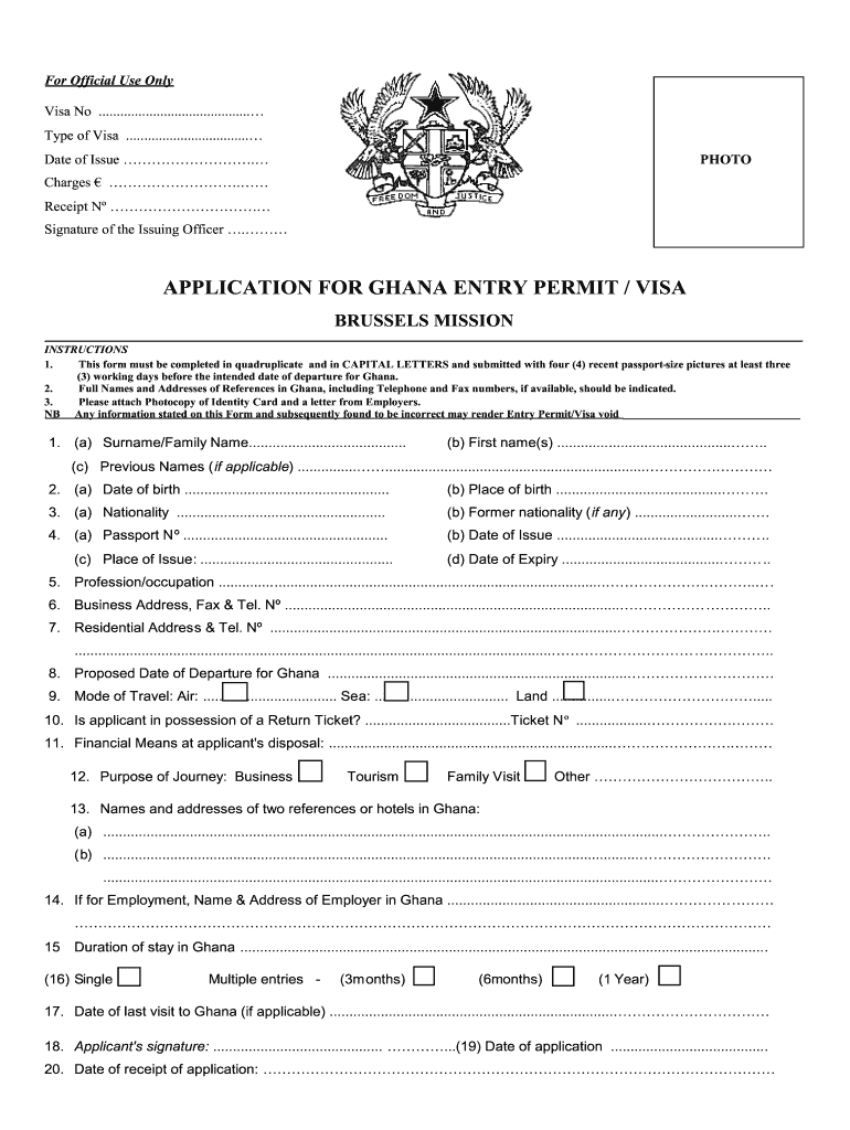 Ghana Visa Application Fill Out And Sign Printable Pdf Template Signnow
