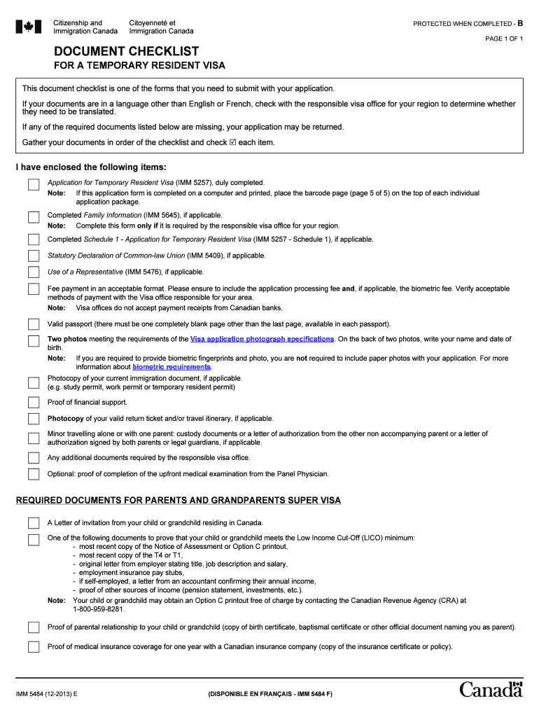 Canada Visitor Visa Checklist Fill Out And Sign Printable Pdf Template Signnow