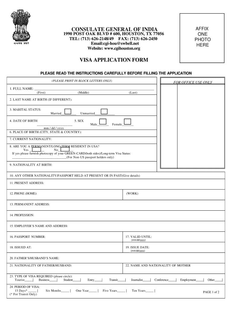 Indian Visa Application Form Pdf Canada Fill Out And Sign Printable Pdf Template Signnow