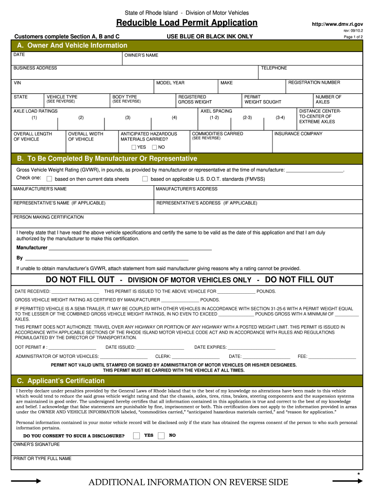Get And Sign Rhode Island Reducible Load Permit 2010-2021 Form