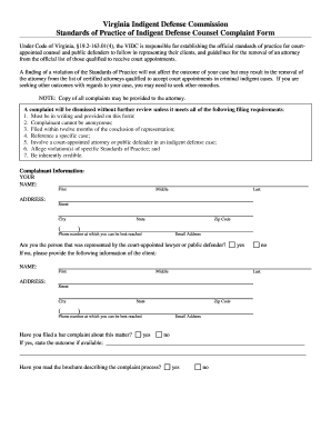Get and Sign COMMONWEALTH OF VIRGINIA COMPLAINT FORM - indigentdefense virginia