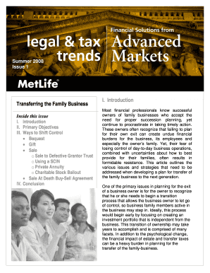 Get And Sign Transferring The Family Business I. Introduction - Pinnacle Financial ... Form