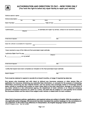 State Farm Authorization And Direction To Pay Form Fill Out And