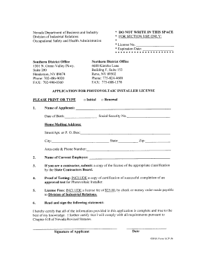 Get And Sign Nevada Osha Green Valley Photovoltaic Renewal Form