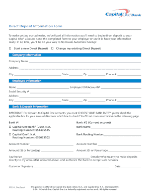 Capital One Direct Deposit Form Fill Out And Sign Printable Pdf