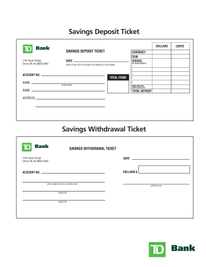 Td bank deposit slip form - Fill Out and Sign Printable PDF