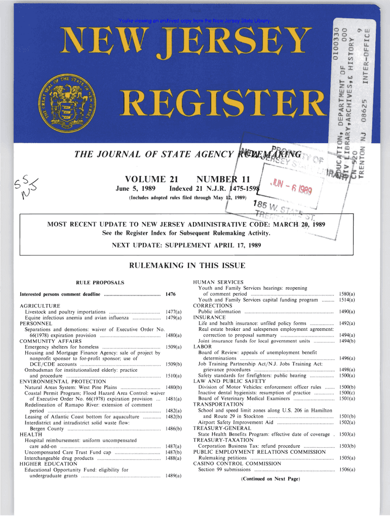 Get And Sign RULE PROPOSALS  Law Library  The New Jersey State Library  Law Njstatelib Form