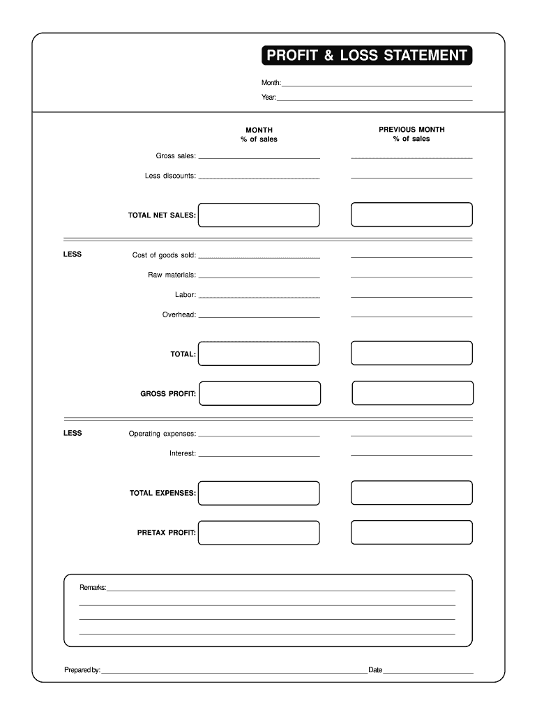 Blank Profit And Loss Statement Pdf Fill Out And Sign Printable Pdf Template Signnow
