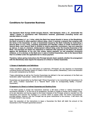 Bonds und standby letters of credit conditions for guarantee form