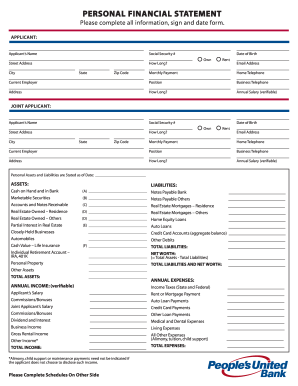 United bank personal financial statement form - Fill Out and