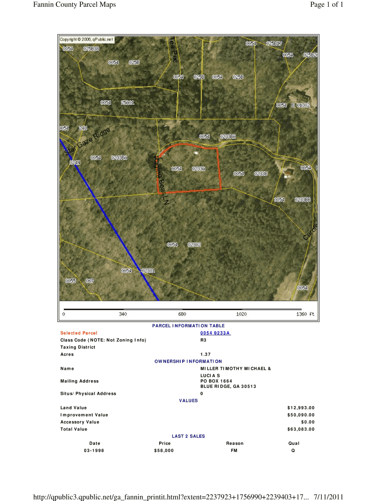 Get And Sign Page 1 Of 1 Fannin County Parcel Maps 711 Http qpublic3 Form
