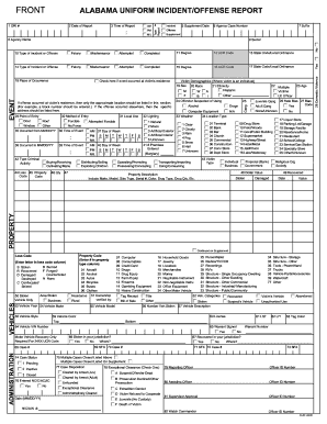 Alabama Incident Offense Report Fillable Form Fill Out