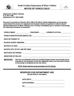 Sc Dmv Form 416 Fill Out And Sign Printable Pdf Template Signnow