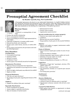 Florida Prenuptial Checklist Form Fill Out And Sign
