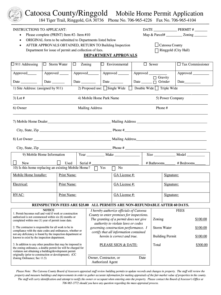Get And Sign Catoosa CountyRinggold Mobile Home Permit Application Form