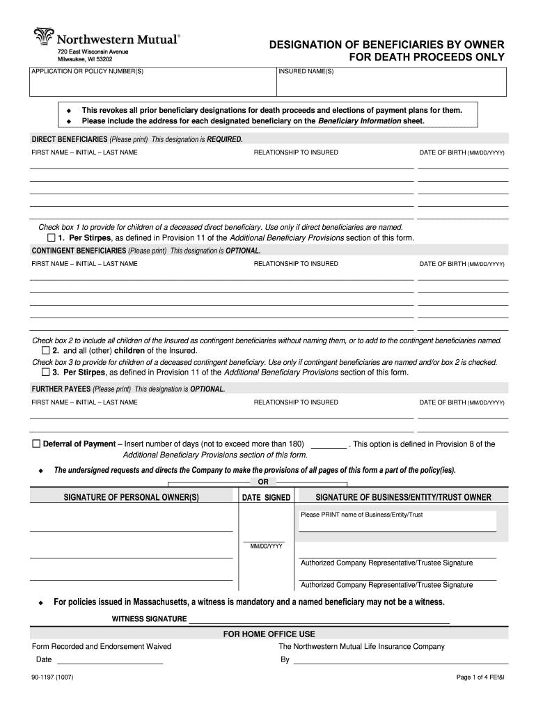 Northwestern Mutual Beneficiary Designation Form - Fill ...