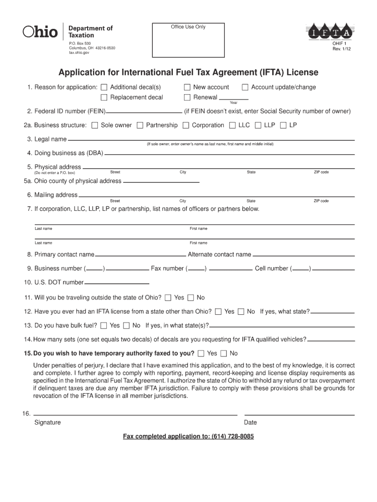 Get And Sign Oh Ifta  Form 2012-2021
