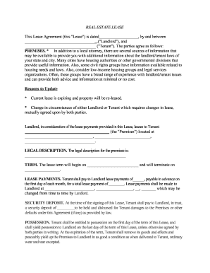 Residential Real Estate Lease Form Fill Out And Sign