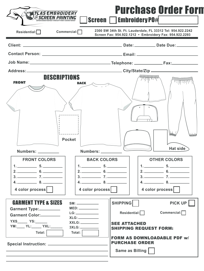 Embroidery Order Form Fill Out And Sign Printable Pdf Template Signnow