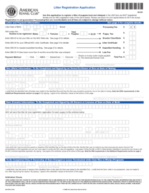 Akc litter registration form - Fill Out and Sign Printable PDF