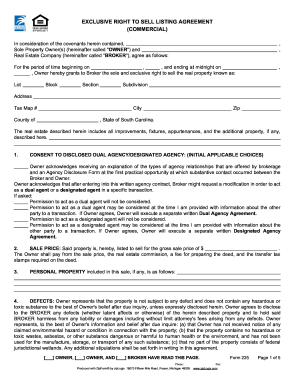 exclusive right to sell agreement template fill out and. Black Bedroom Furniture Sets. Home Design Ideas