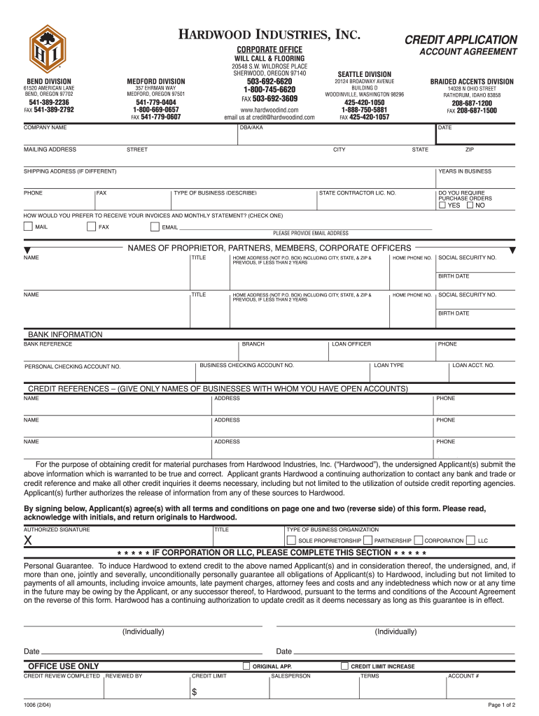 Get And Sign Fillable Credit Application 2004-2021 Form