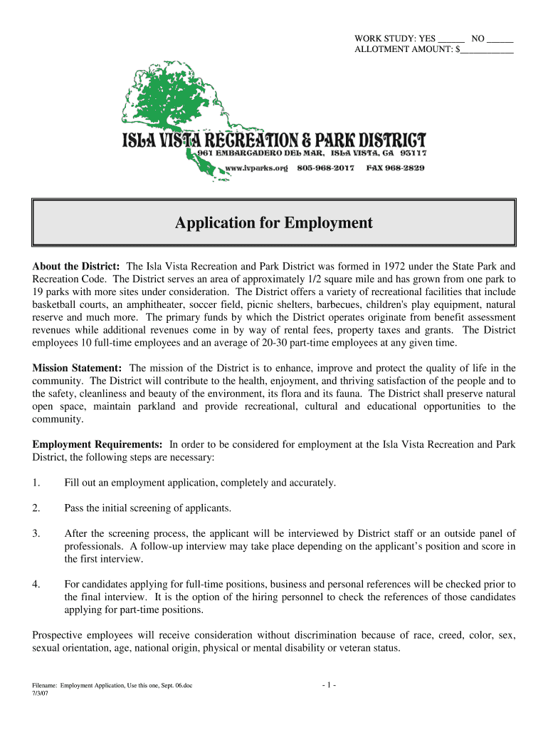 Get And Sign Employment Application, Use This One, Sept 06 doc  Ivparks Form