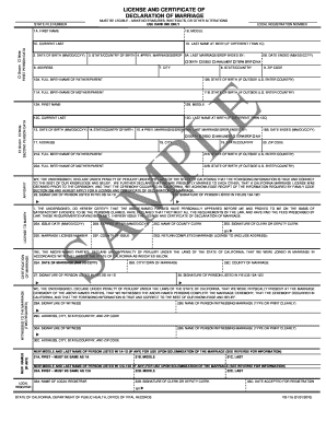 Marriage License California Fill Out And Sign Printable