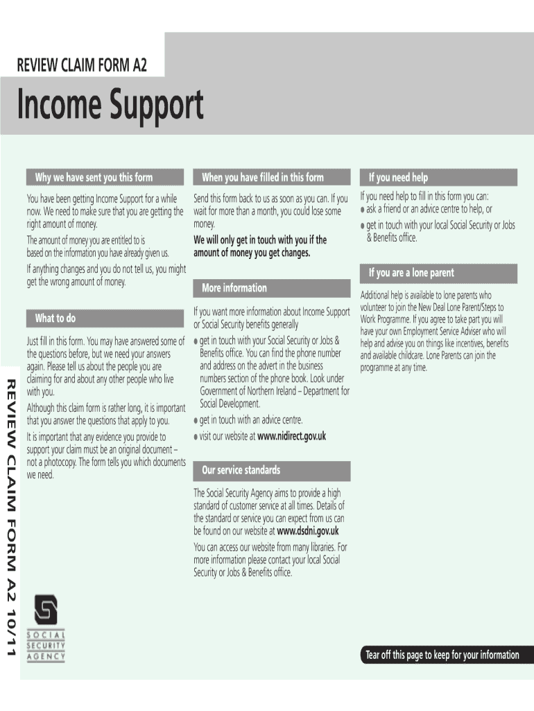 Get And Sign Income Support A2 Form 2011-2021