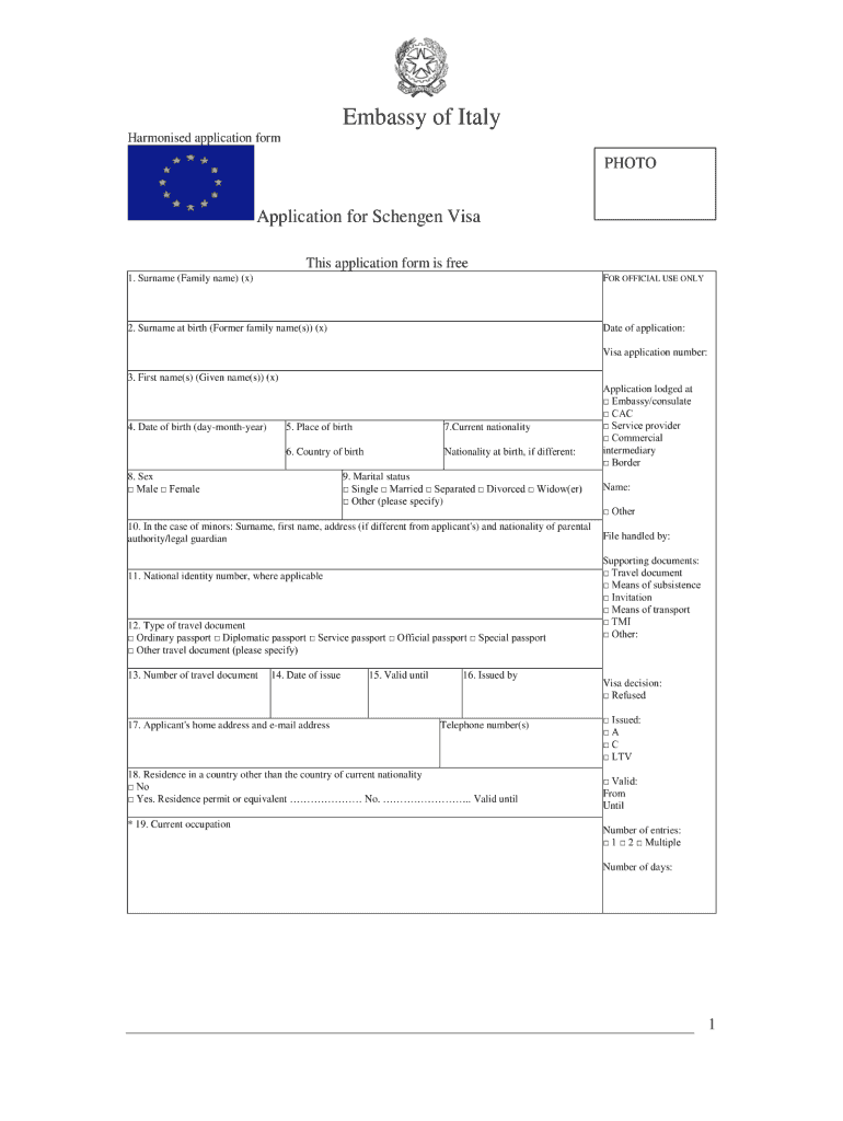 Italian Visa Form Download Fill Out And Sign Printable Pdf Template Signnow
