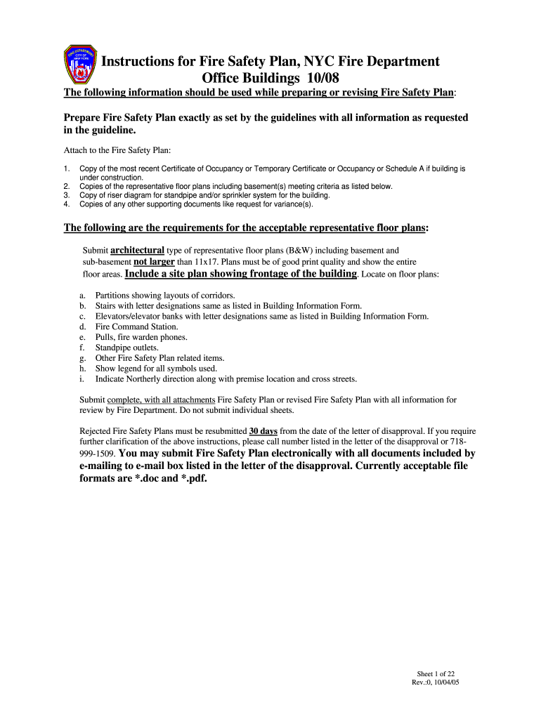 Get And Sign Fire Safety Plan Nyc 2005-2021 Form
