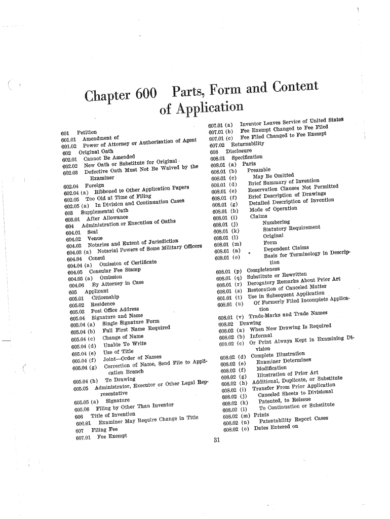 Get And Sign Chapter 600 Parts, Form And Content  0 Of Application  Uspto