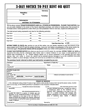 Get And Sign Printable 3 Day Notice Form