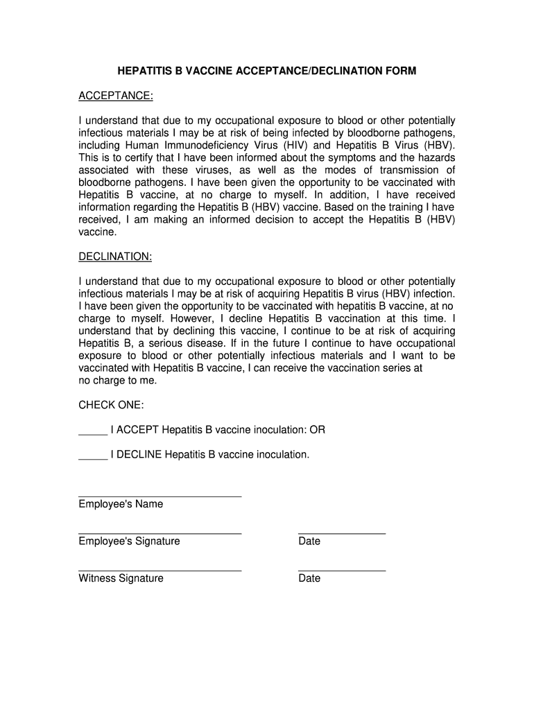 Get And Sign Hep B Declination Form