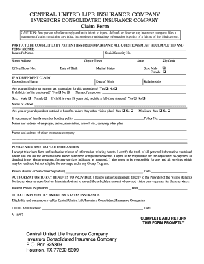 Central united claim form - Fill Out and Sign Printable PDF