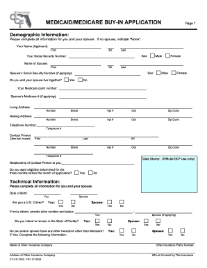 Get And Sign Florida Medicaid Medicare Buy In Application Form
