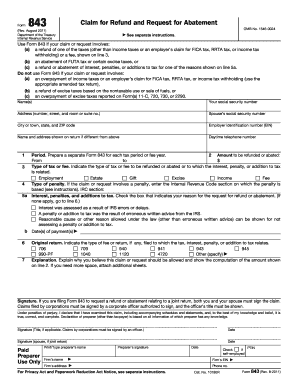 Fillable online note: instructions for form 843 (rev fax email.
