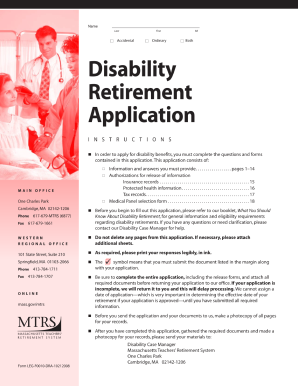 Get And Sign Ma Disability Retirement Application Online Form