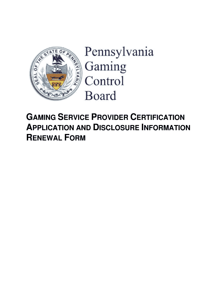 Get And Sign Pa Certified Gaming Service Provider Form