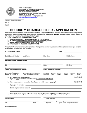 tennessee security guard application form fill out and. Black Bedroom Furniture Sets. Home Design Ideas
