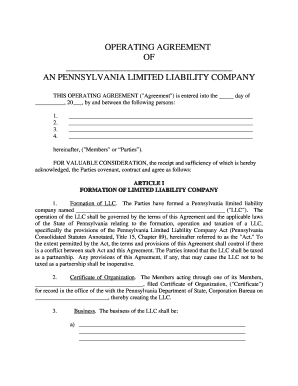 llc operating agreement example