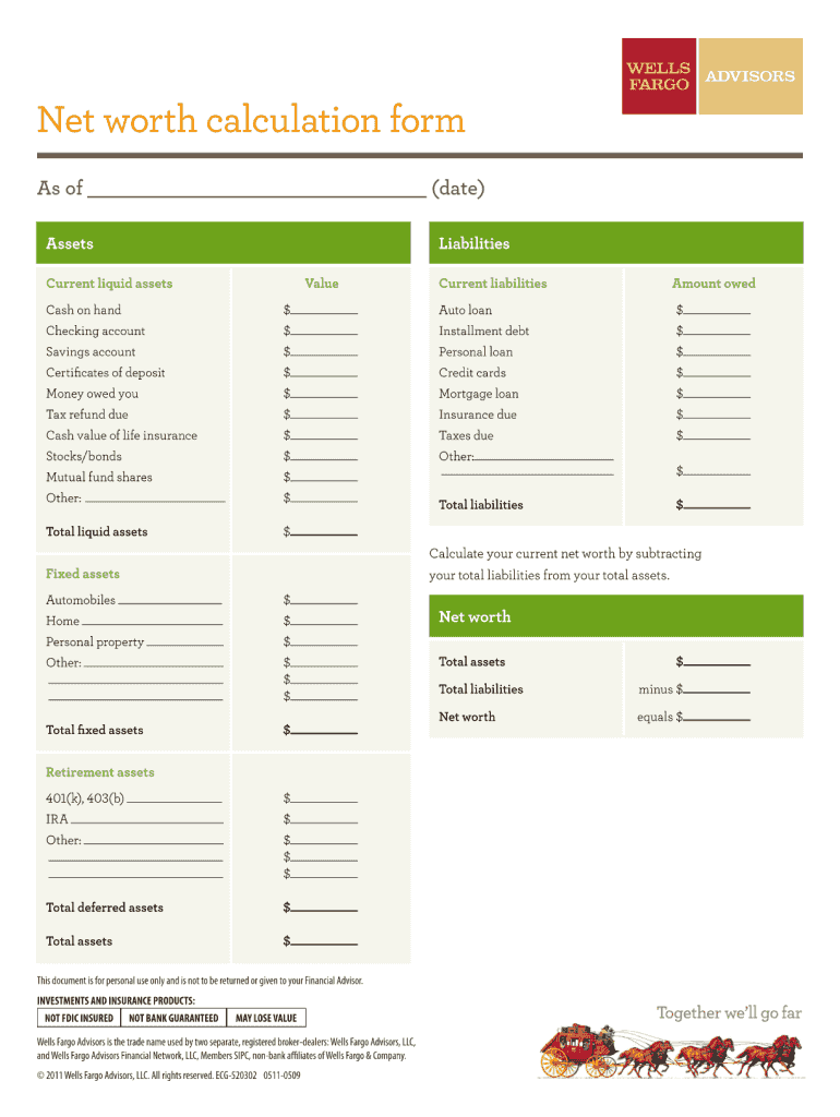 Net Worth Form Fill Out And Sign Printable Pdf Template Signnow
